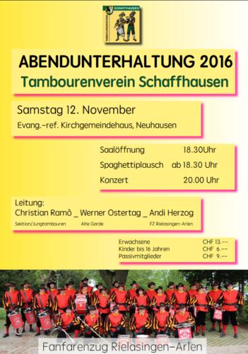 12.11.2016 Auftritt beim Schaffhauser Tambourenverein